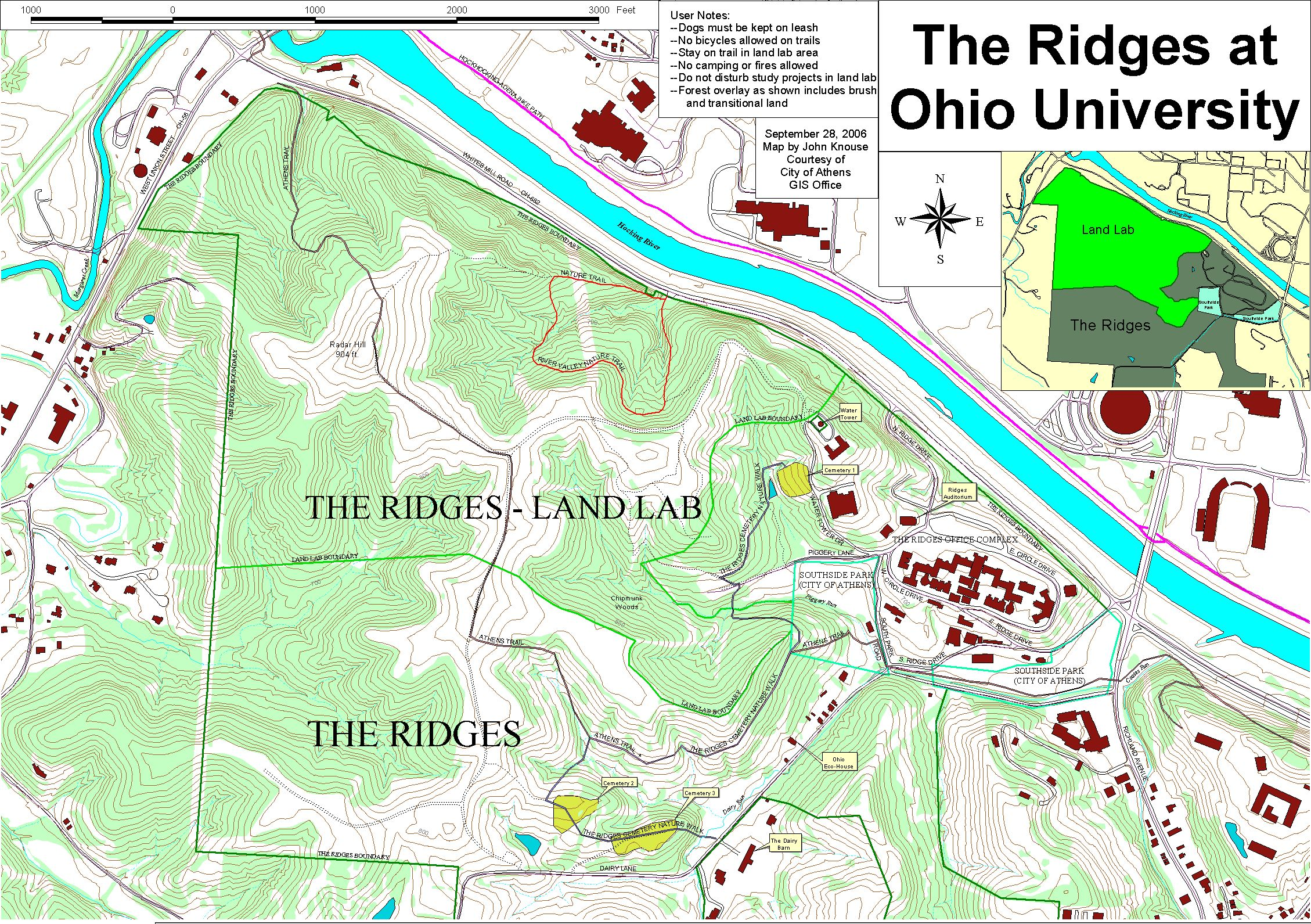 Athens Area Outdoor Recreation Guide The Ridges Ohio University - Driving map of ohio